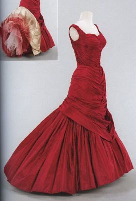 """1955 red """"Tree"""" ball gown by Charles James."""