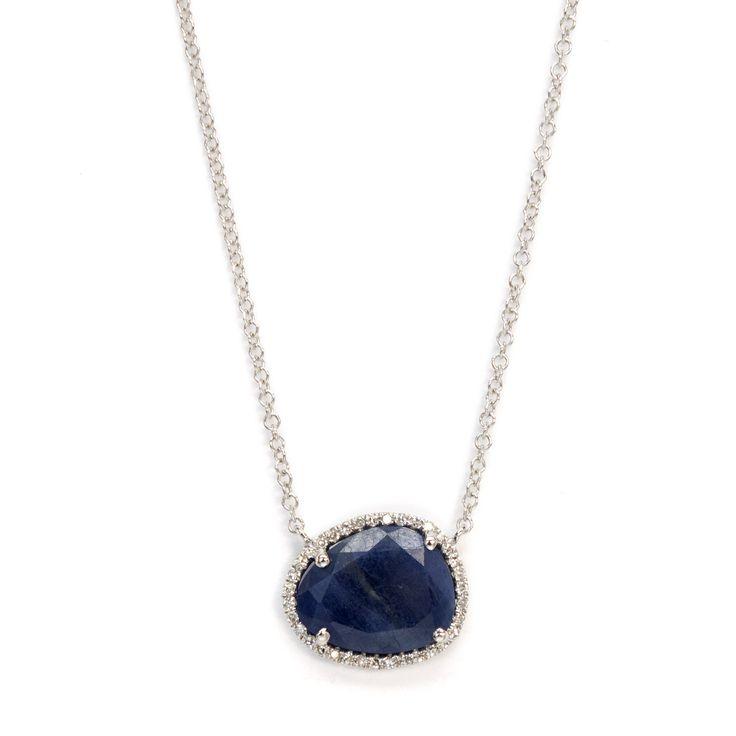 Blue sapphire slice necklace