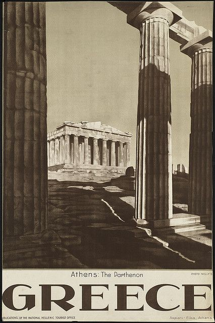 Vintage travel poster of Greece. Athens: the Parthenon. Published by the National Hellenic Tourist Office #kitsakis