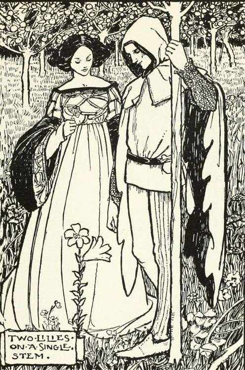 'Two Lilies on a single stem.' Illustration by Florence Harrison (1877–1955) for 'Poems by Christina Rossetti' (Song).