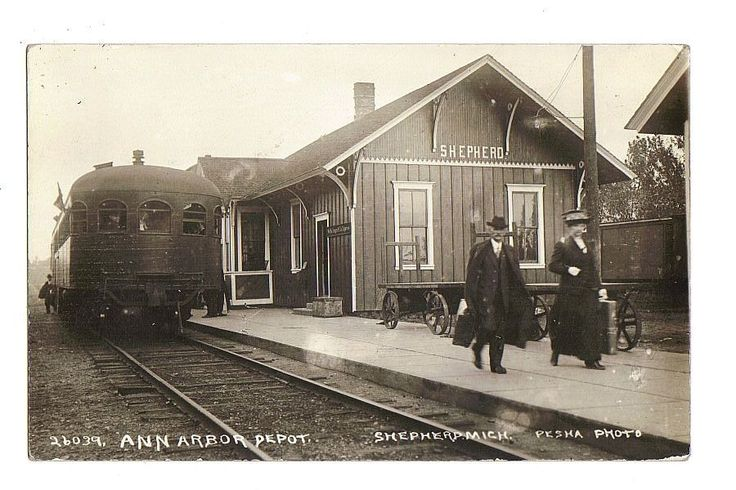 Another perfect pic for my story, which is set in 1890s in Shepherd, Michigan! 1917 SHEPHERD MICHIGAN ANN ARBOR DEPOT rppc Real Photo Postcard: