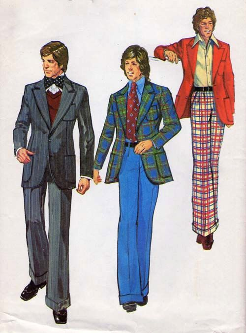 1970's men's suit show the variety of colors and patterns used.