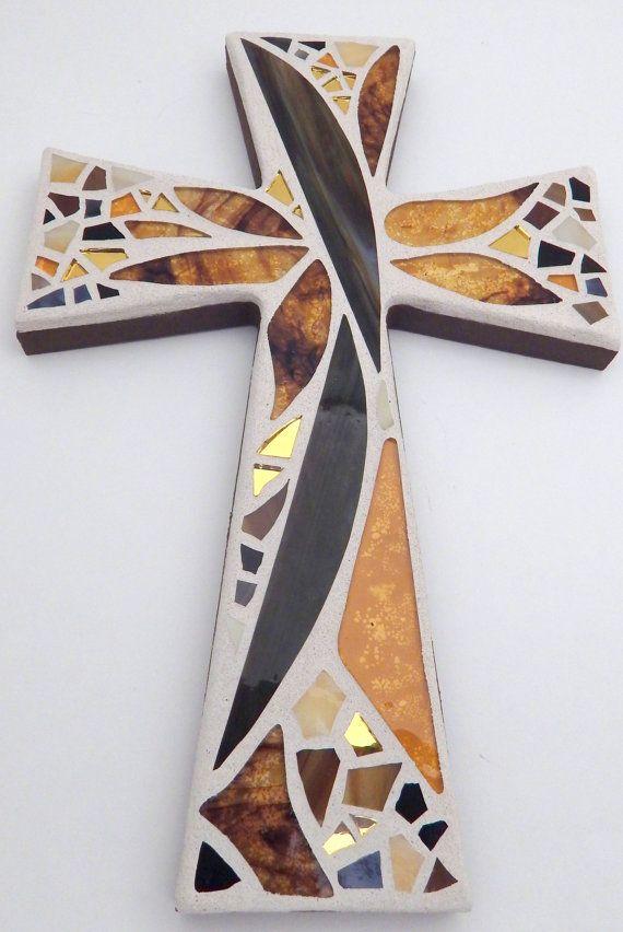 Mosaico de pared abstracto diseño Floral por GreenBananaMosaicCo                                                                                                                                                     Más