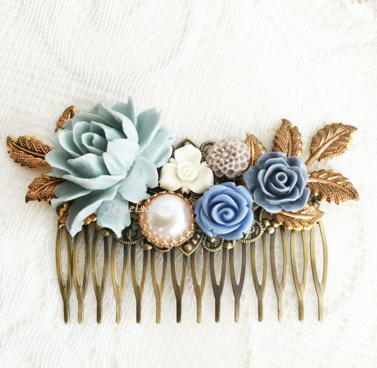 Vintage Wedding, Bridal Hair Comb in Duck Egg Blue, Dusky Blue Flower Hair Slide, Dusty Blue Hair Jewellery for Bride, Dove Gray Blue Floral Hair Pin Adornment by Jewelsalem