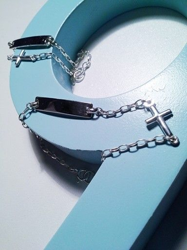 Sterling Silver I.D Bracelet with Cross