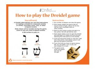 Selective image with how to play dreidel printable directions