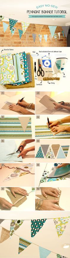 This pennant garland is really easy to make... Plus it's no-sew! Love it!