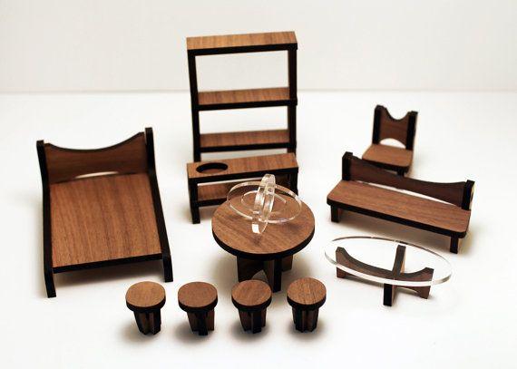 elf furniture. the arc dollhouse furniture set solid walnut by 3starstudioarts elf