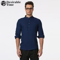 Men Henry Collar Casual Shirt European Size S-2XL Fashion Long Sleeve Linen Shirts for Men