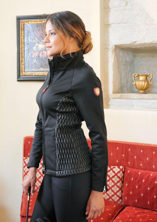 Giacca donna da equitazione Tattini modello Faenza in tessuto softshell con inserti ecopelle.