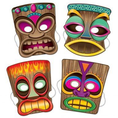 Confezione di 4 maschere tiki in cartone: queste coloratissime maschere rapresentano la famosa divinità polinesiana e saranno perfette per animare la tua serata in occasione di una divertente festa hawaiana in spiaggia!