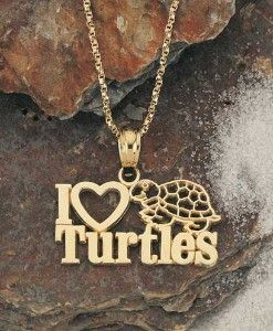 Turtle Jewelry 14kt. Gold I Love Turtles Pendant | Shop accessories,luxury, fashion | Kaboodle