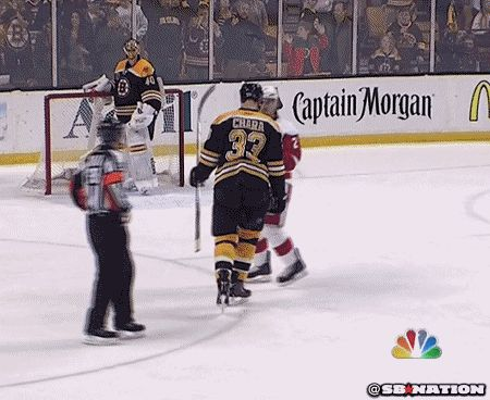 This comedy moment brought to you by Brendan Smith and Zdeno Chara.  #bostonbruins