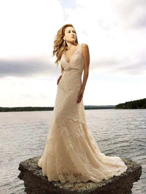 Champagne Empire V-Neck Straps Sexy Chapel Beach Lace Wedding Dress