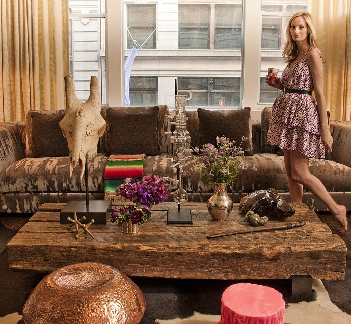 can you spot the coffee table? love that reclaimed/raw wood look