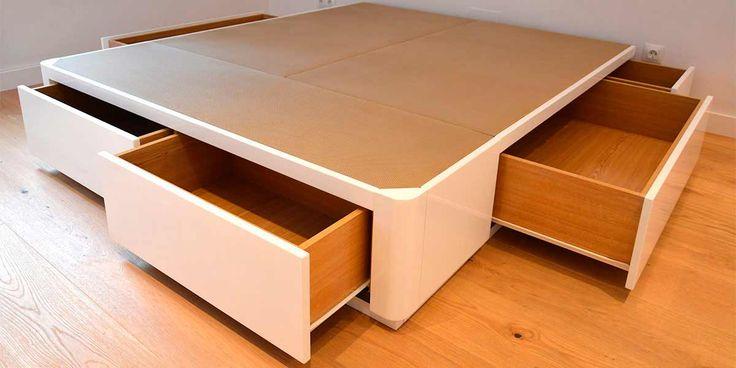 Cama canapé de madera lacada con cajones color blanco brillo