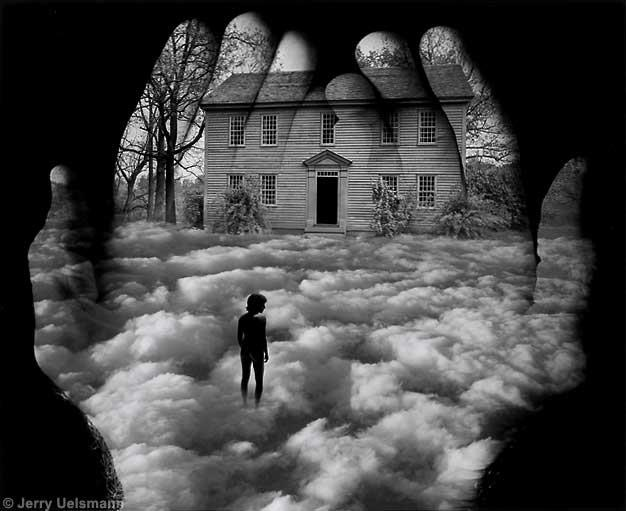 """I have the honor to present Jerry Uelsmann, one of America's most important contemporary photographers.In the 1960s, he was a leading figure in the new field of Pop photography.He is known throughout the world for his dream-like scenes. Sometimes referred to as """"the master of photomontage,"""" his creations involve hand printing of multiple negatives onto single sheets of paper.Uelsmann's work is featured in the exhibition Faking It: Manipulated Photography Before Photoshop"""