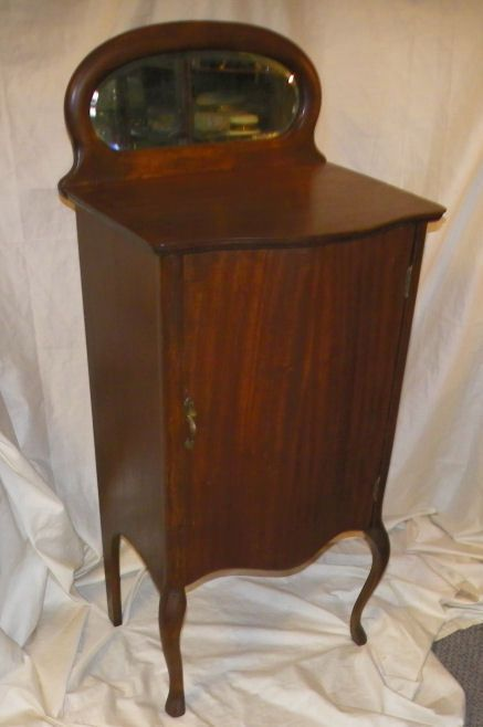 Details About Antique Mahogany Music Cabinet With Mirror