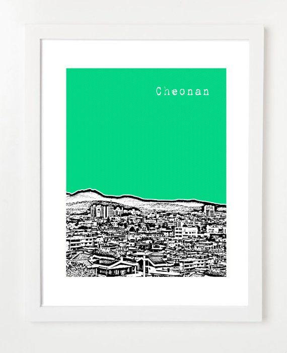 Nursery Art - Cheonan South Korea Poster  - Cheonan City Skyline Art Print