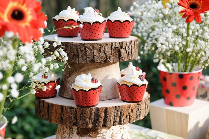 Una forma preciosa de presentar los cupcakes en tu fiesta mariquita / A lovely way to present the cupcakes at your ladybird party