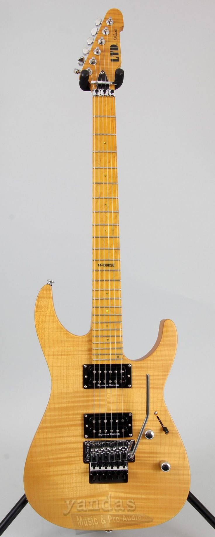 The M series electric guitars from LTD are world known for their sleek design, and great tonal capabilities. This new 2015 release of the M-1000SE features a solid flamed maple top with Seymour Duncan