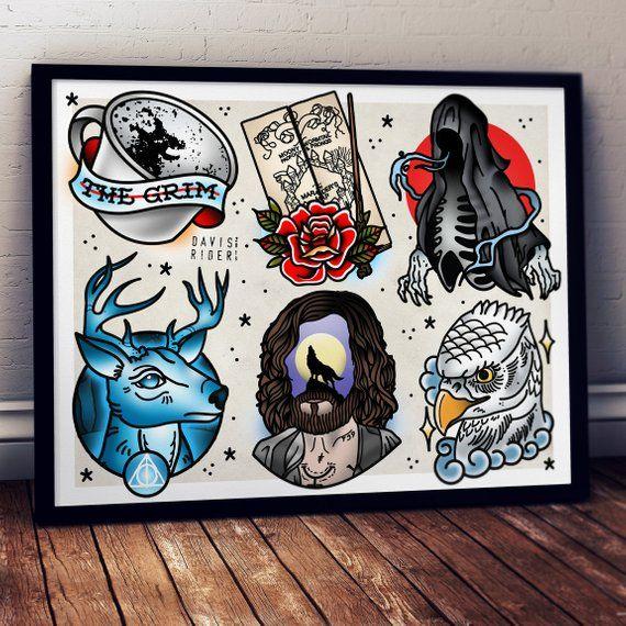 Prisoner Tattoo Flash Art Print Tatuajes De Harry Potter Arte De Flash Arte De Tatuaje Flash