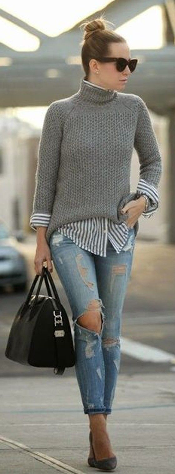 Grey Plain Long Sleeve Fashion Dacron Pullover Sweater