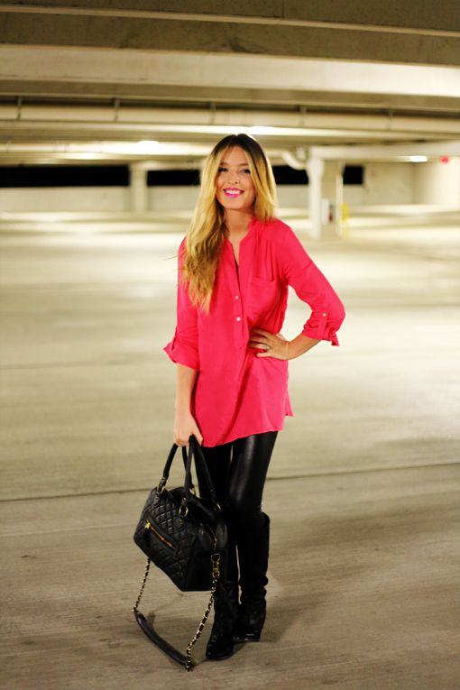 ..Fashion, Clothing, Pink Lips, Leather Legs, Leather Leggings, Leather Pants, Black, Landscapes Photography, Hot Pink Tops Outfit Shirts