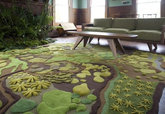 "this carpet is made of grass! The Forest Floor Treasure Tapestry from Angela Adams is a ""multifaceted landscape of color, texture and dimension."""