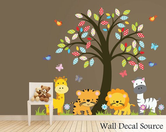 Nursery Tree Decal - Zoo Animals Wall Decal - Jungle Animal Wall Decals on Etsy, $107.00