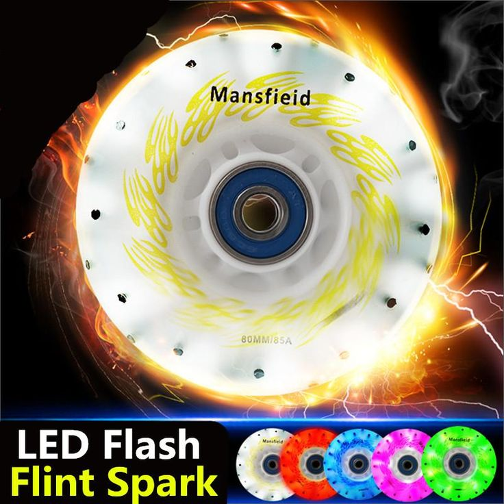[Visit to Buy] 4 Pieces Flint Fire Stones Spark Inline Skates 85A Wheel, LED Flash Shining Roller Skate Wheels, Cool in Darkness Night #Advertisement