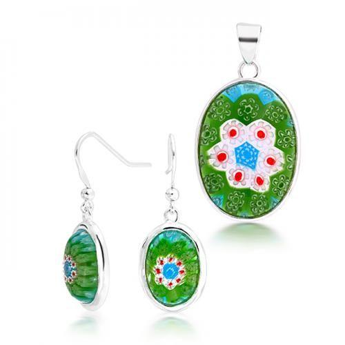 Sterling Silver Oval Green Murano Glass Millefiori Flower Jewelry Set Earrings Pendant