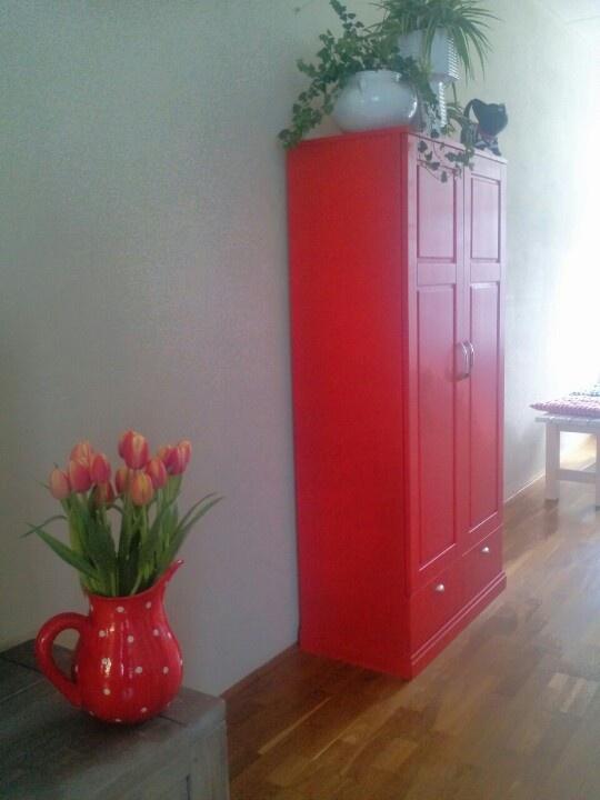 Repainted Red book shelves