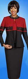 Ben Marc Executive 11621 Ladies Skirt Suit With Lace Applique Two Tone Jacket