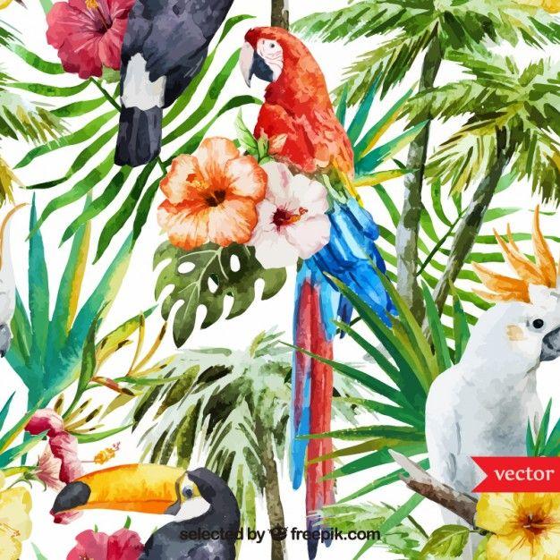 Fondo de acuarela tropical Vector Gratis
