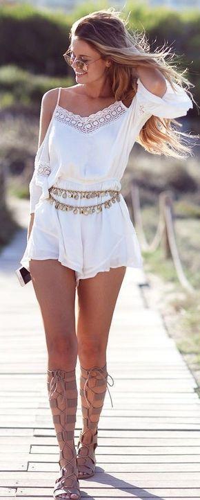 White Boho Romper Coachella Style Outfit Idea