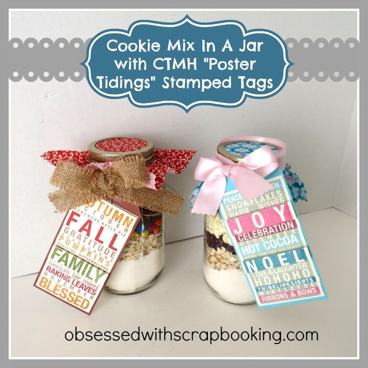 Obsessed with Scrapbooking: [Video]Cookie Mix in a Jar with CTMH Poster Tidings Stamped Tags