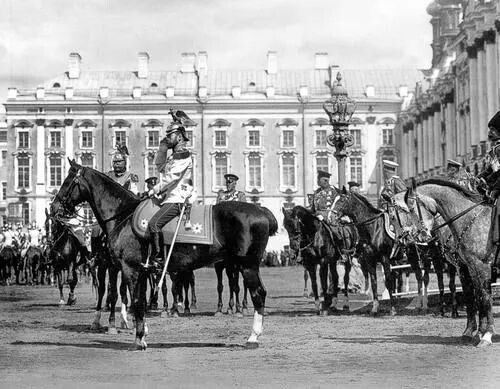 Tsar Nicholas at a military review, Catherine Palace, Tsarskoe Selo 1911, wearing the uniform of his Guard Regiment