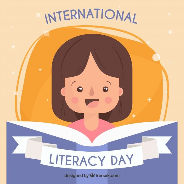 Background of a girl reading a book on international literacy day Free Vector