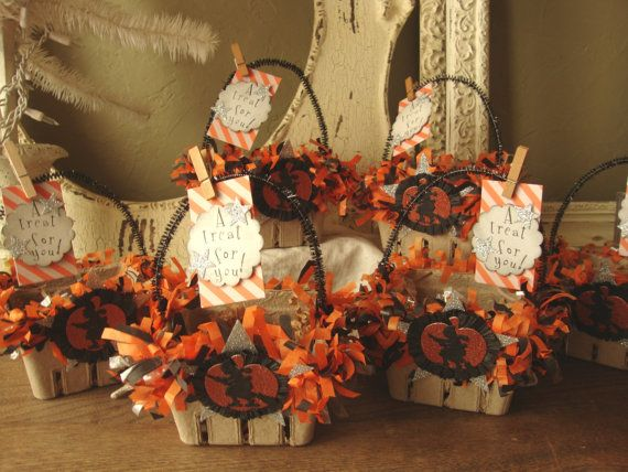 Halloween gift basket party favors candy containers embellished altered paper…