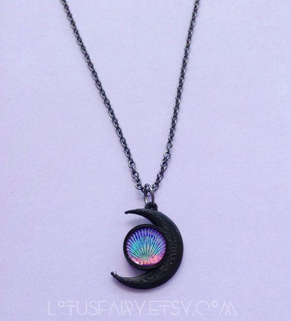 Sirena Luna concha collar, cadena, cable o tatuaje gargantilla 3D impresa joyería, pastel goth, seawitch,