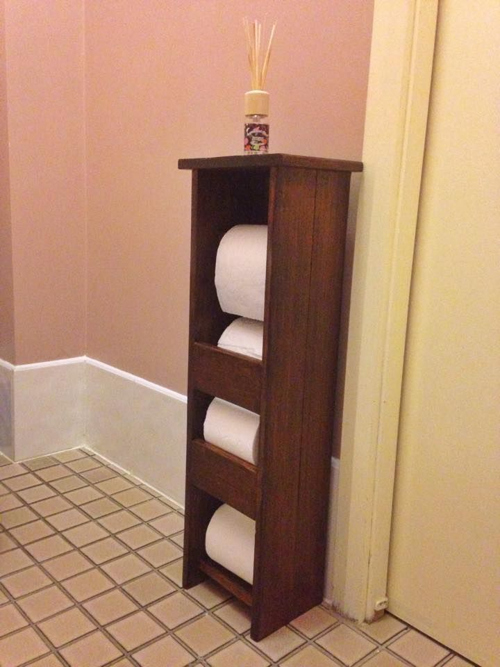 Toilet paper holder made of offcut hardwood flooring planks