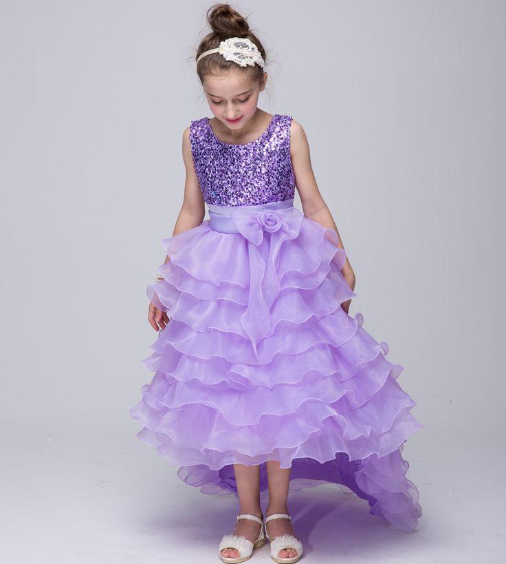 2 12Y Rosa Rojo Púrpura Azul de la Muchacha de Flor de La Magdalena Vestidos de Boda de La Cola Larga Del Partido Lentejuelas Desfile Vestidos de Bola Del Vestido de la dama de Honor 2016 en Vestidos de La madre y Los Niños en AliExpress.com | Alibaba Group