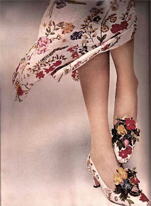 Model wearing shoes by David Evins with a matching dress by Galanos for Harper's Bazaar, 1965.