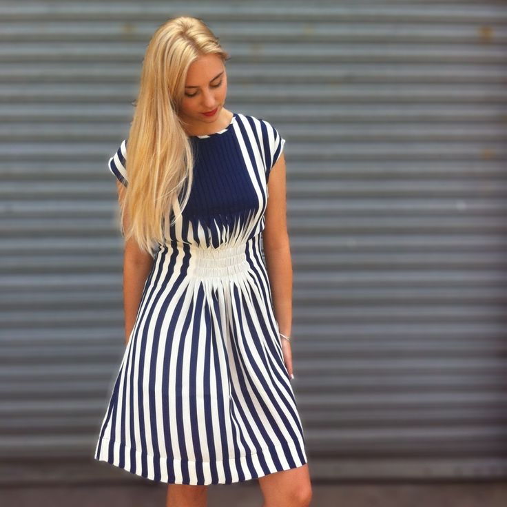 Navy & White #Marden #pleat #dress