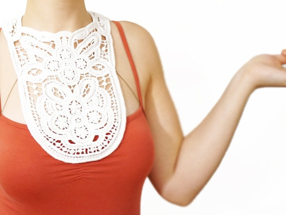 Asicia // Handmade Ivory Crochet Cotton Lace Collar by EPUU, $48.00