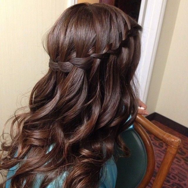 Brown Waterfall Braid  Curls - Hairstyles and Beauty Tips