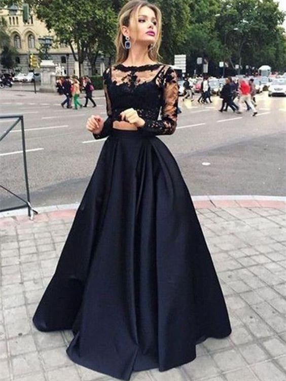 A-line Bateau Floor-Length Satin Black Two Piece Prom Dresses HX0061 – Nina Carter