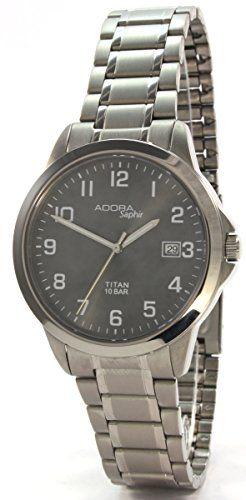 Adora Saphir 60049BL Titan Herrenuhr Metallband Saphirglas 10 Bar - http://geschirrkaufen.online/adora/adora-saphir-60049bl-titan-herrenuhr-metallband