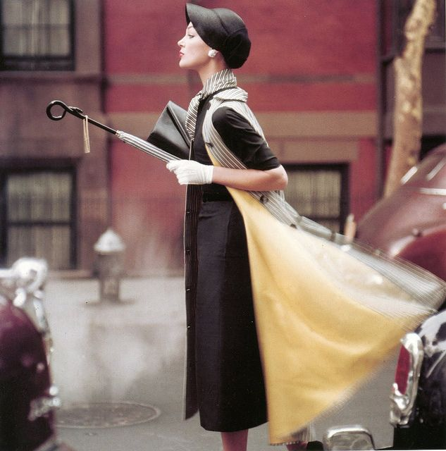 """""""Traffic"""", Ivy Nicholson by Norman Parkinson for US Vogue, 1957"""
